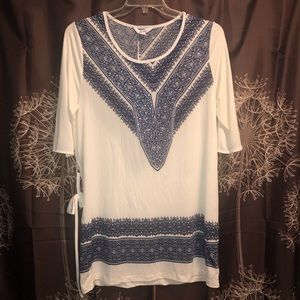 5th & LOVE Belted Stretchy Tunic White Navy Dress